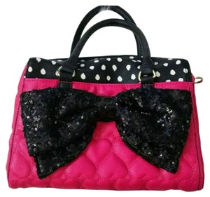 Betsey Johnson Satchel in Pink Black