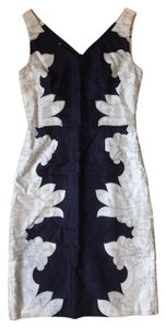 Banana Republic Navy White Cocktail Paisley Dress
