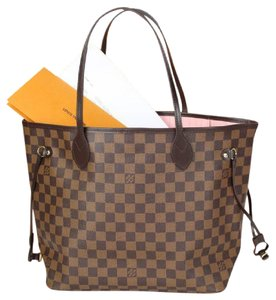 Louis Vuitton Neverfull Neverfull Mm Leather Damier Canvas Tote in Brown