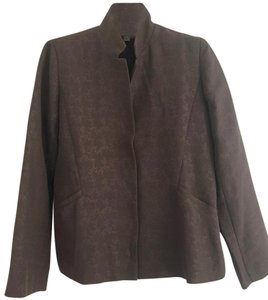 Eileen Fisher Separate Fully Lined Fabric Hidden Front Snaps BROWN WITH BROWN JACQUARD DESIGN Jacket