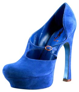 Saint Laurent Mary Jane Suede Ysl Asymmetric Blue Platforms
