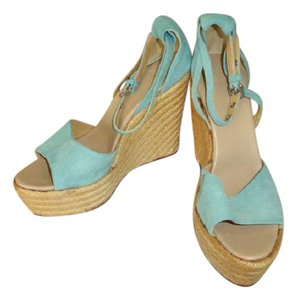 Herms BLUE GREEN SUEDE STRAP Wedges