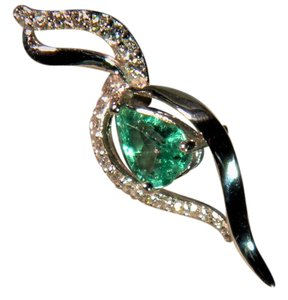 Other 18K White Gold Emerald and Diamond Pendant (no Chain).