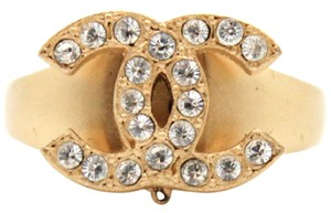 Chanel #11542 Rare CC Crystals Gold Hardware ring