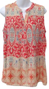 Olive + Oak Paisley Bright Coral Flowy Tunic