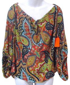 Alice & Trixie Boho Paisley Flowy Top Multicolored