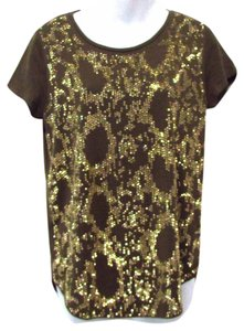 Michael Kors Studded Night Out T Shirt Olive Green/Gold