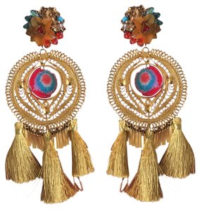 Mercedes Salazar Mercedes Salazar Gold Tassel Pom Pom Floral Clip-On Earrings