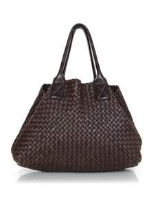 Bottega Veneta Cabat Woven Leather Insert Tote in Brown