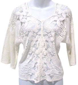 Miguelina Crop Lace Top White