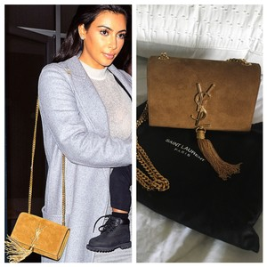 Saint Laurent Ysl Leather Suede Cross Body Bag