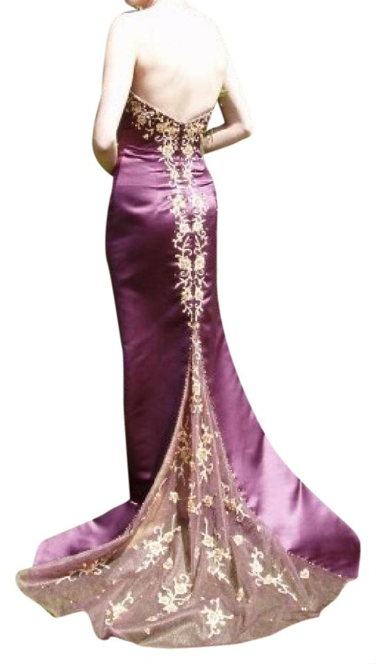 Precious Formals Wine & Champagne (Burgundy/Gold) Mid-length Formal ...