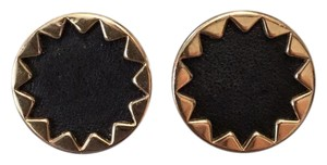 House of Harlow 1960 Sunburst Black Leather Earrings