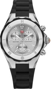 Michele Michele Women's Black Silicone Silver Stainless Steel Watch