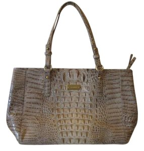 Brahmin Taupe Croc Shiney Gold Tote
