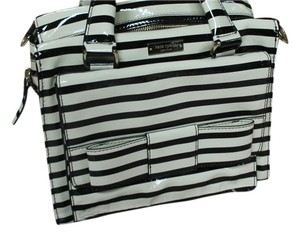 Kate Spade Satchel in black and cream white striped