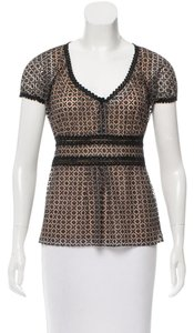 Chanel Lace Floral Silk Embroidered Lining Top BK/NUDE