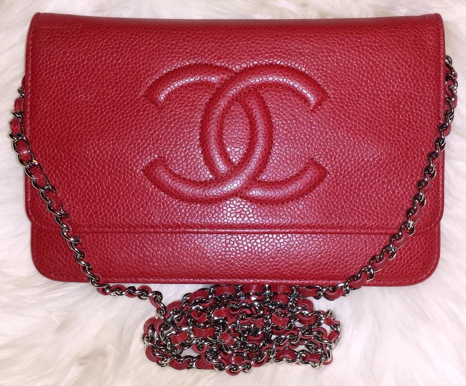 b14e92100ee0 Chanel Classic Flap Wallet On A Chain Woc Timeless Quilted Mini Cc Red  Caviar Leather Cross Body Bag - Tradesy
