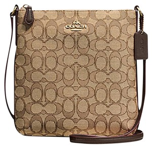 Coach Brown White Filebag Cross Body Bag