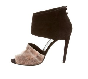 Pierre Hardy Suede Peep Toe Snakeskin Sexy black and gold Boots