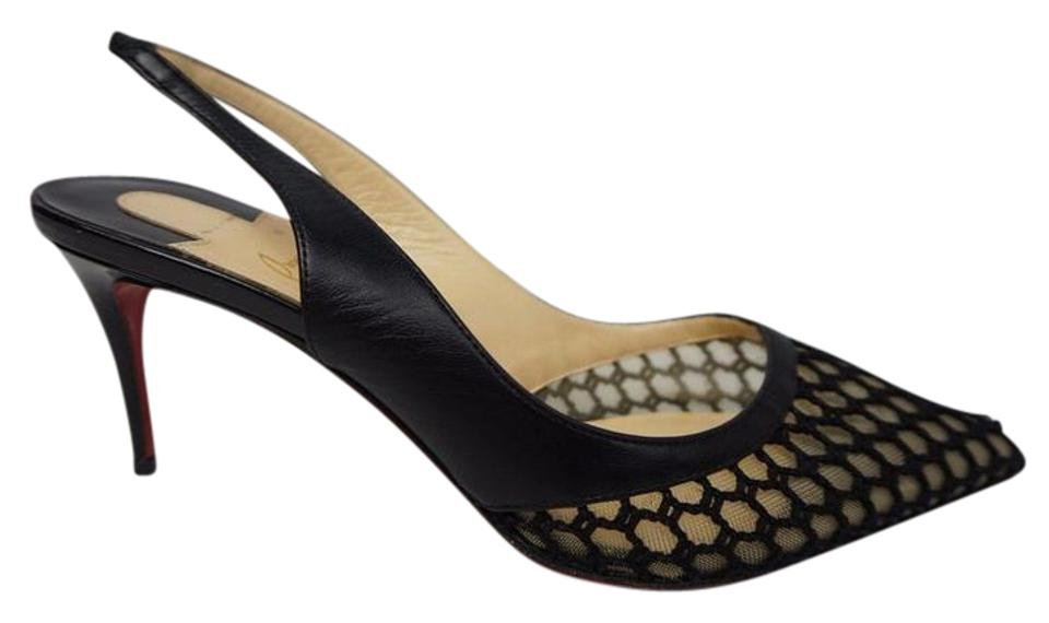 best authentic 95105 1d862 Christian Louboutin Black Miluna Slingback Pointy Red Bottom Mesh Pumps  Size US 6.5 Regular (M, B) 59% off retail