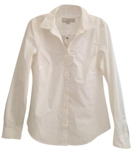 Ann Taylor LOFT Classic Work Conservative Comfortable Button Down Shirt White
