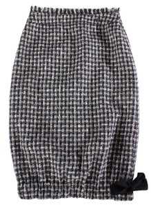 Chanel Pencil Ribbon Tweed Wool Skirt black /white