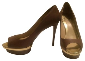 Brian Atwood Brown/Taupe with Gold Trim Platforms