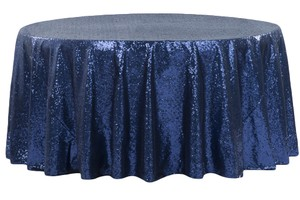 Navy Blue Sequinned Tablecloth
