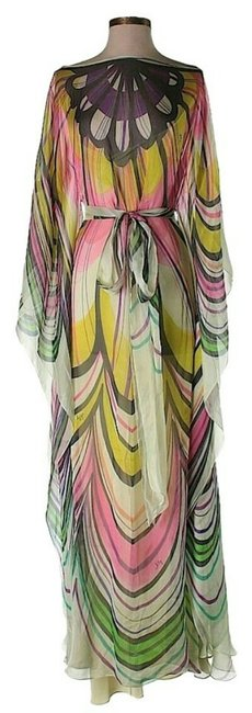 Item - Pink Yellow Purple Green Silk Rainbow Flower Kaftan Long Night Out Dress Size 2 (XS)