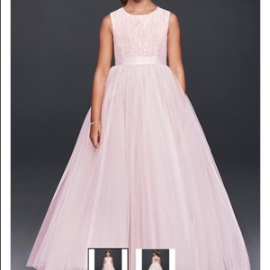 David's Bridal Whisper Pink (pale Pink With White) Davids Bridal Ball Gown Flower Girl Dress Sz 3t Dress