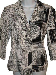 Chico's Embroidered One Button Xs Black and White Jacket