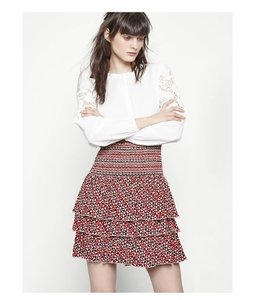 Maje Smocked Ruffle Jalao Skirt Red