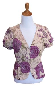 Anthropologie Floral Top cream/purple