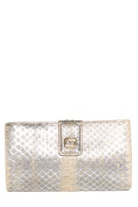 Gucci Vintage Silver Python Wallet With Gold Tone Hardware