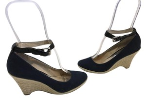 MICHAEL Michael Kors Padded Jute Rope Navy Fabric Leather Lining Insoles Ankle Straps Espadrille Wedges