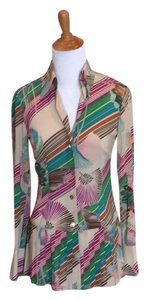 Trina Turk Pleated Peplum Button Down Shirt Tan/multicolor