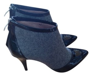Vince Camuto Patent Felt Ankle Heels Grey Black Boots