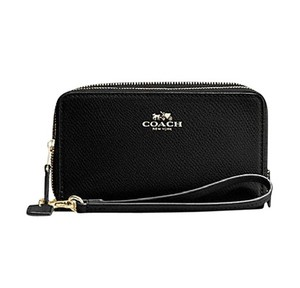 Coach Pebble Leather Leather Wristlet in Black