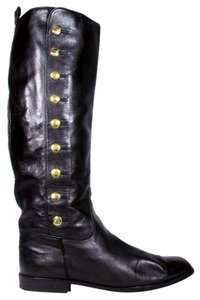 Chanel Button Logo Tall Knee High Gold Boots