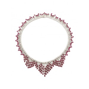 dignity GIA 52.2CT BURMA RUBY 18K WHITE GOLD NECKLACE