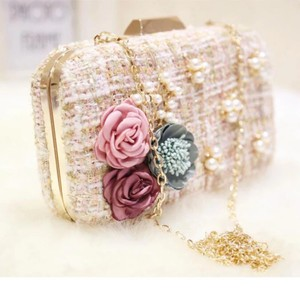 Flower Chain Clutch Hand Wedding Bling Bridal Clutch Pearl