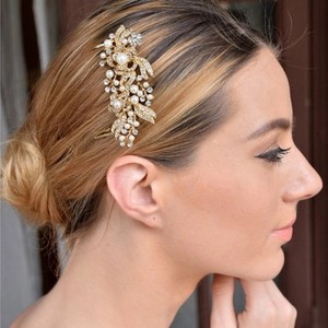 Rose Gold Hair Comb Bridal Pearl Rhinestone Crystal