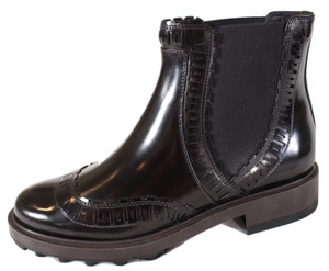 Tod's Leather Perforated Ankle Black Boots