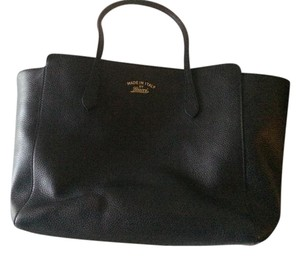 Gucci Gold Writing Leather Tote in Black