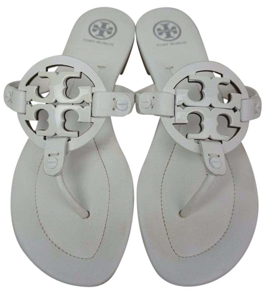 a6f90b9d19fa7 Tory Burch White Miller 2 Logo Flip Flops Leather Sandals Size US 7 ...