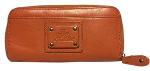 Rowallan Zippered Credit Card Slots Leather Wristlet in Orange