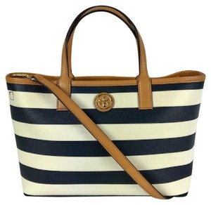 Tory Burch Midium Tote Coated Cavas Tote Leather Trim Navy Tote Navy Satchel in white/navy/brown