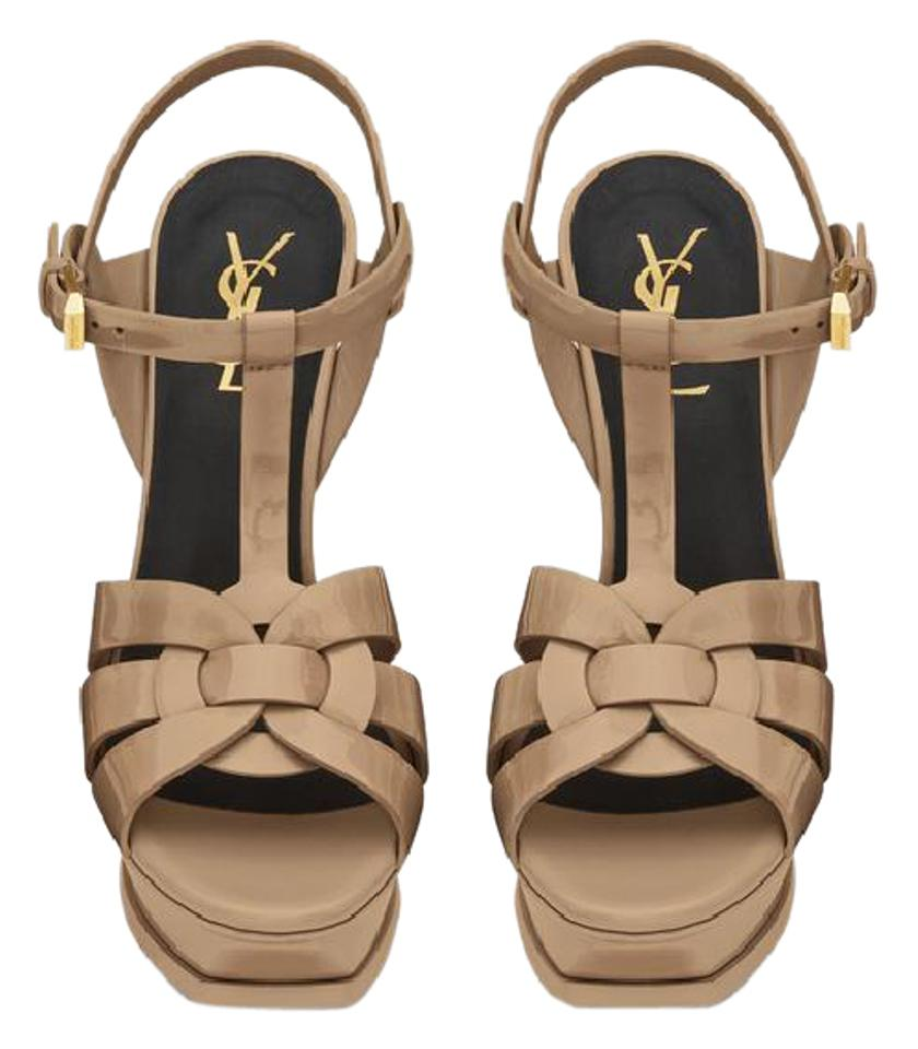 Saint Laurent Powder Beige Tribute Classic 105 In Dark Powder Laurent Patent Leather Sandals e0fcba