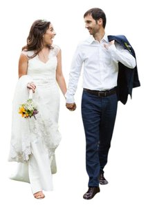 Watters Watters Wtoo Ivory Silver- Embroidered Wedding Gown Lace Train Wedding Dress